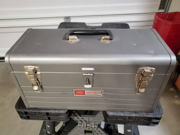 Photo Vintage Craftsman Grey Metal Hand Tool Box  Removable Tray - $35 (Menifee- Audie Murphy Ranch)