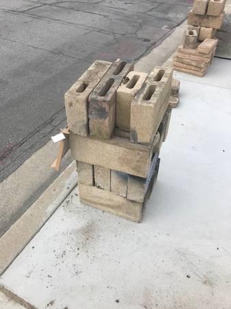 Photo concrete and slumpstone blocks - curb alert (Upland)