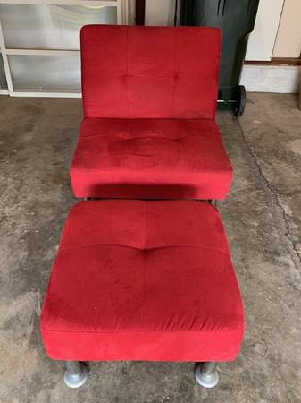 Photo Chair with Ottoman, Platform Bed, Card Tables, Rug - $15 (Iowa City)