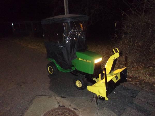 Photo John Deere 185 Hydro 38quot mower, Snowblower,NEW Wind Cab Enclosure - $1500 (Lynnville, Iowa)