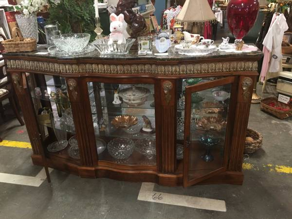 Photo Lighted Marble Top Glass Front Console Cabinet - $695 (Clinton)