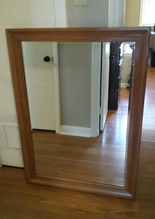 Photo Solid oak Mission style headboardfootboard and Mirror (McKenzie)