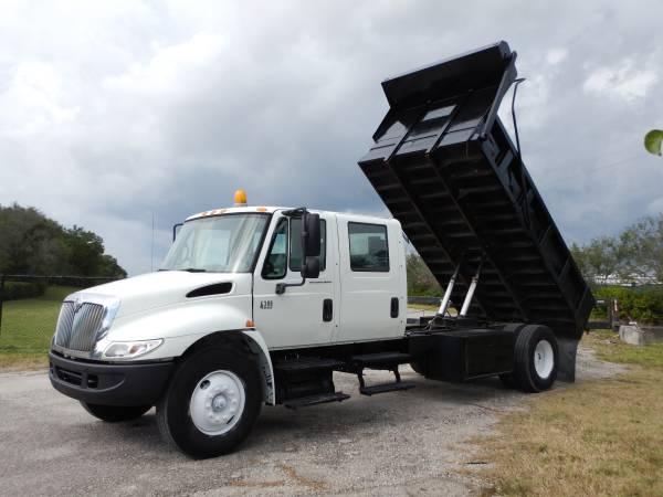 Photo 2005 International 4300 Crew Cab DT466 14ft Dump Truck Low Miles - $28995