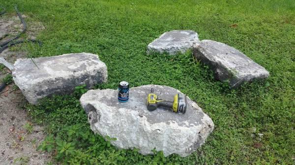 Photo 4 chunks of concrete, 200 to 100 lb