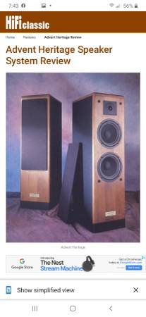 Photo Advent Heritage speakers $300obo - $300 (Jacksonville westside)