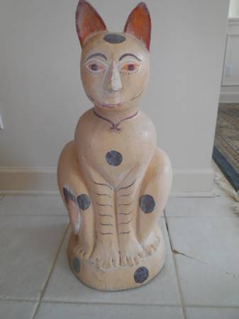 Photo Hand Carved Wooden Cat Statue - $100 (Jacksonville Beach)