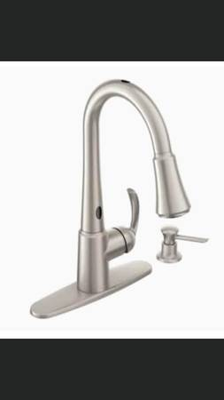 Photo NEW Moen Motion Sense Delaney Stainless Steel Kitchen Faucet - $350 (Mandarin)