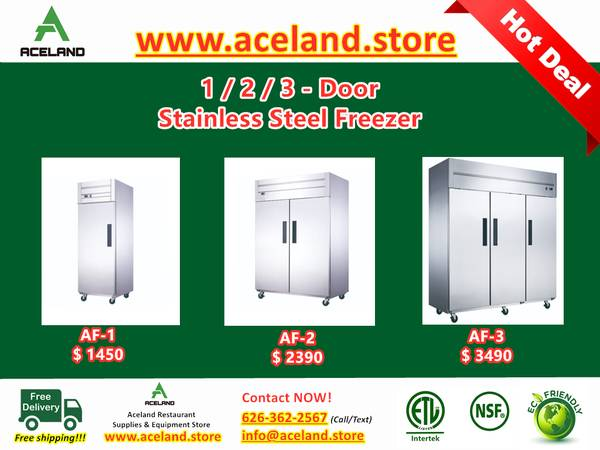 Photo NSF 123-door Commercial Stainless Steel Solid Door Reach-in Freezers - $1,300 (Free Shipping 100 New)