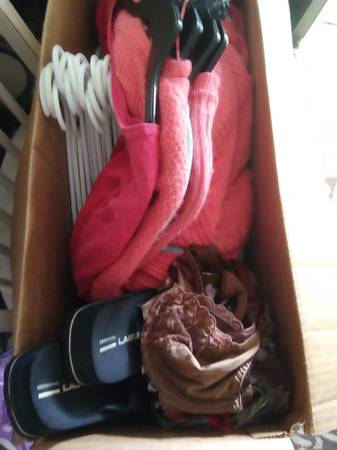 Photo Small box of used clothing, clothes hangers - $12 (Jacksonville Florida)