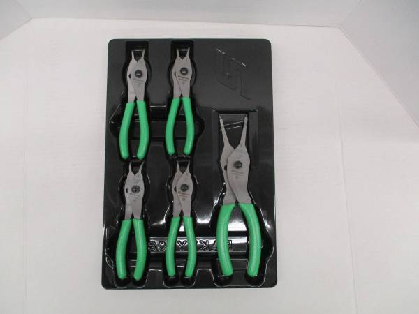 Photo Snap On Tools 5 Piece Snap Retaining Ring Pliers Set GREEN - $120 (west jacksonville)