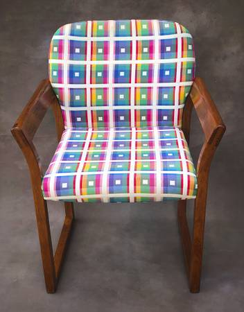 Photo Solid wood chair with colorful checker pattern for $30.00. - $30 (JACKSONVILLE)