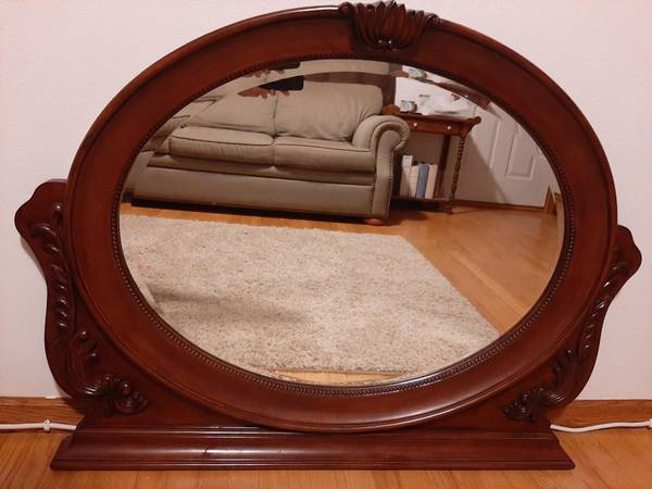 Photo Ikea Solid Oak Mirror - $60 (Janesville)