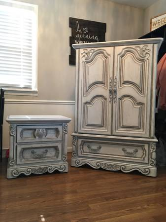 Photo Matching antiqued armoire dresser and night stand - $200 (Janesville)