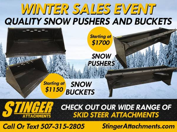 Photo Stinger Snow Buckets  Snow Pushers - All Sizes (LOCAL PICK UP OR DELIVERY)