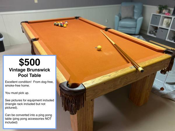 Photo Vintage Brunswick Pool Table - $500 (Janesville (NE side))