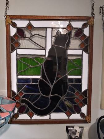 Photo Black cat stained glass window - $600 (Egg Harbor City Jersey Shore)