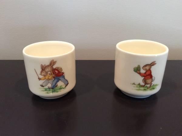 Photo Bunnykins Egg Cups (2) by Royal Doulton 1936 English Fine Bone China - $18 (Brick)