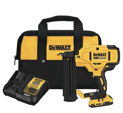 Photo DeWalt 18v Cordless Brushless 18g Brad Nailer Kit w battery, charger  bag-Bran - $225
