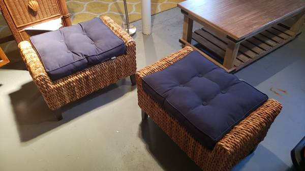 Photo Pair of Pier 1 Imports Wicker Ottomans with blue cushions - $80 (little silver)