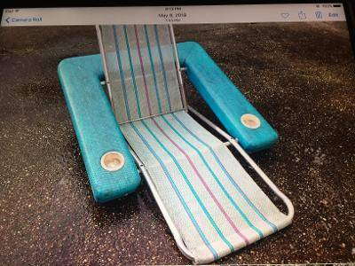 Photo Pool Chaise Lounge Aqua Blue with two cup holders Vintage 1950s - $50 (Freehold)