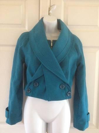 Photo Teal Blue Cropped Jacket Coat - Demoiselle 2 Great Looks, sz 10 - $20 (Little Silver, NJ)