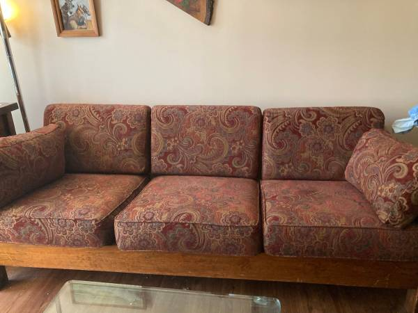 Photo Wood Sofa (Chair taken) (Not This End Up) (BARNEGAT)
