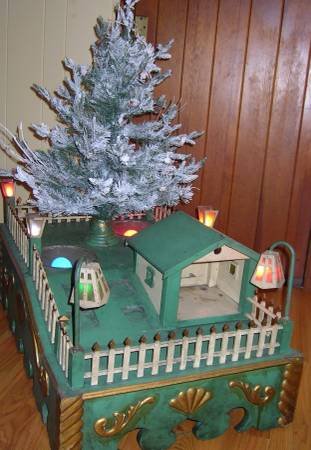 Photo Old Wood Christmas Tree Stand with Christmas Tree Fence - $385 (Thayer)