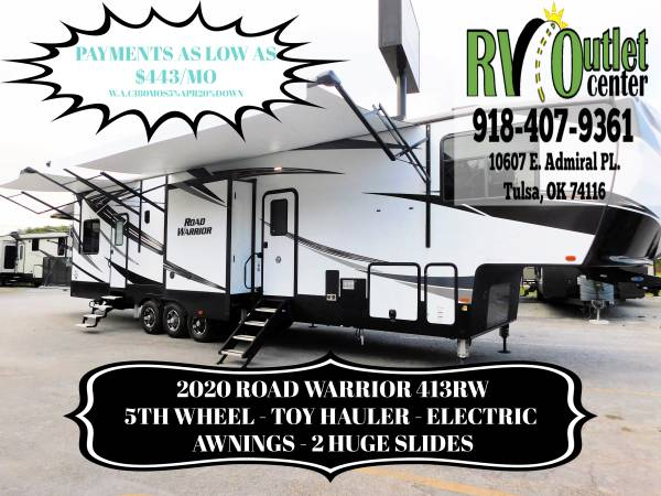 Photo 2020 ROAD WARRIOR 413RW - 5TH WHEEL - TOY HAULER - 3 AWNINGS -2 SLIDES - $65999 (Tulsa)