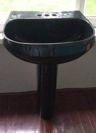 Photo Black kohler pedestal bathroom sink (Jackson)