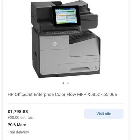 Photo Never Used HP OfficeJet Enterprise Color Flow Industrial Printer - $1,200 (Ann Arbor, West Side)