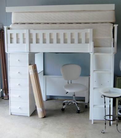 Photo White Twin Bunk Bed Set - $400 (Jackson,MI)