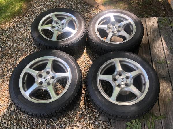 Photo 5x114.3 16 Honda S2000 wheels and Firestone Winterforce tires - $500 (Mattawan)