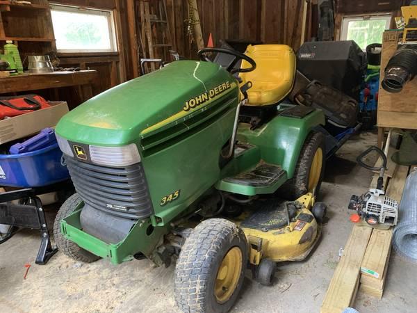 Photo John Deere 345 Tractor Mower w 48 Deck, Snow Plow  Chains - $1,500