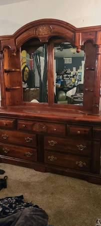 Photo 4 piece bedroom set, side tables, armoire, dresser with mirror - $800 (Kalispell)