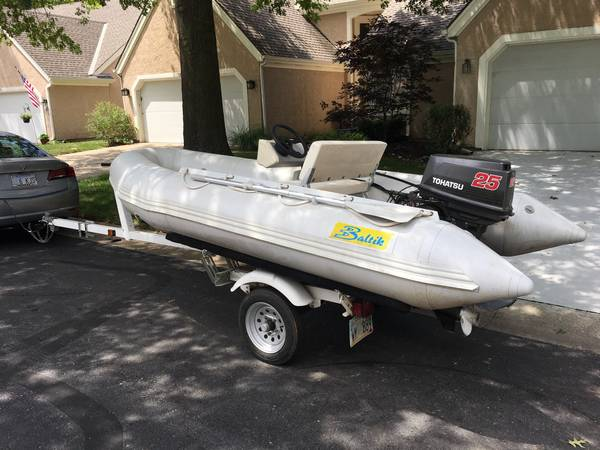 Photo 1139 Baltic Inflatable - 25 hp Tohatsu - Trailer - Good Condition - $1,700 (Overland Park)