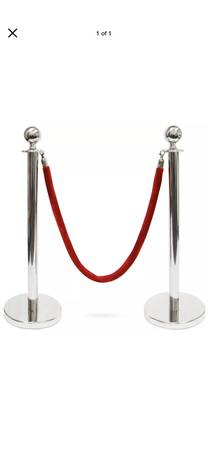 Photo 4 Ball Top Stanchions w 4.5 ft. (Red Velvet Rope Silver Crowd Control - $70 (Blue Springs)