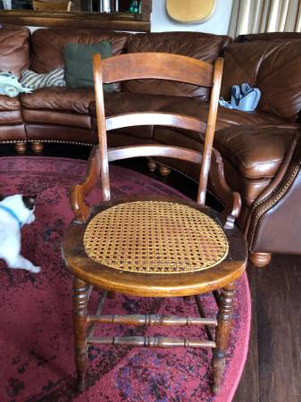 Photo ANTIQUE WOODEN CHAIR ROUND CANE RATTAN SEAT LADDER BACK - $50 (Pleasant Hill MO)