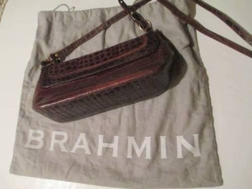 Photo BRAHMIN CROC EMBOSSED SHOULDER BAG BROWN LEATHER PURSE wDust Cover - $60 (Shawnee)
