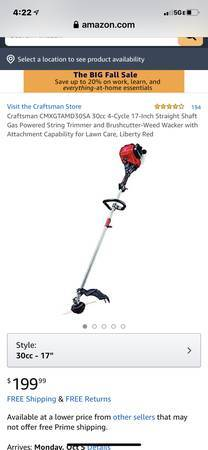 Photo Craftsman 17-IN. 30CC 4-CYCLE STRAIGHT SHAFT GAS WEEDWACKER Trimmer - $140 (Blue Springs)