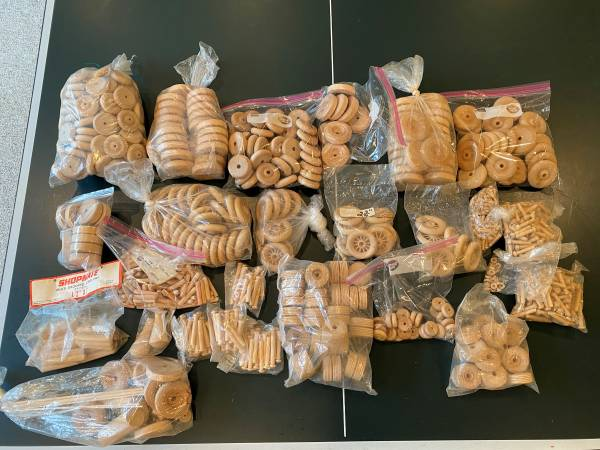 Photo Hardwood wheels for toys crafts  new - large assorted box full - $45 (Overland Park)