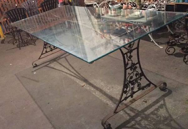Photo Large Iron Glass Top Patio Dining Table - $100 (KCMO)
