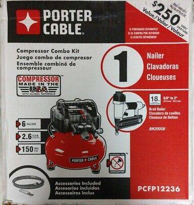 Photo NEW PORTER-CABLE PCFP12236 6 GALLON PORTABLE AIR COMPRESSOR KIT - $144