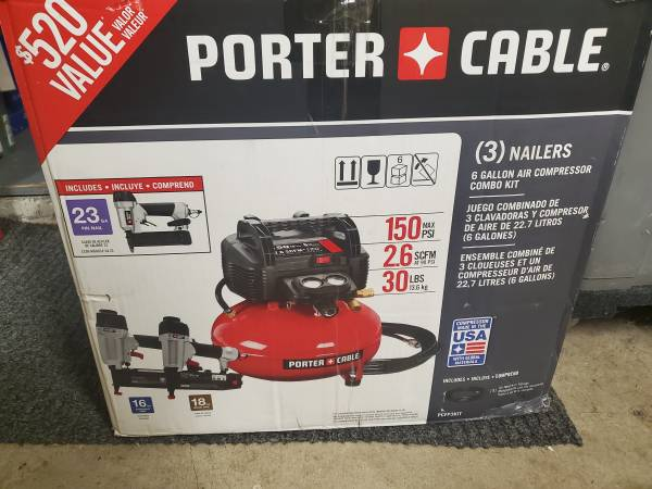Photo NEW PORTER-CABLE PCFP3KIT 6 GALLON COMPRESSOR KIT WITH 3 NAILERS - $169
