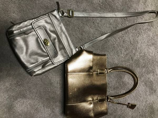 Photo Purses Fossil shoulder bag  new metallic bag $20 for both bags - $20 (Kearney)
