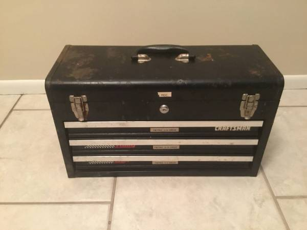 Photo Vtg Craftsman 3 Drawer Metal Toolbox Rally Box - $30 (Parkville Weston)