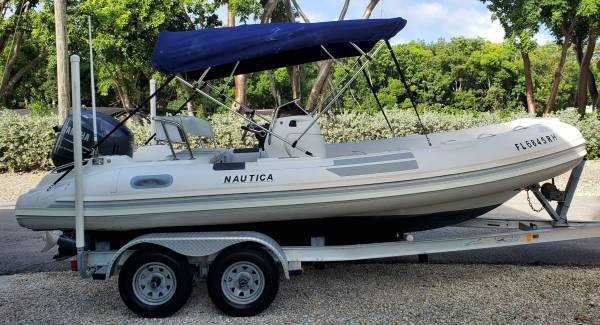 Photo 2008 NAUTICA 1839 WIDE BODY RIB INFLATABLE BOAT Yamaha F115 trailer - $15,995 (See it  MM98.7 Median Storage Lot, Key Largo)