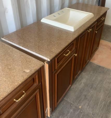 Photo 63.5quot Wide Dark Brown Bathroom Vanity Granite Top Kohler Sink - Used - $359 (Bonita Springs)