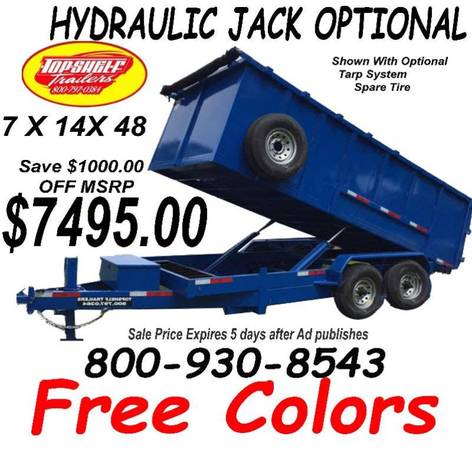 Photo 7 X14X48 14 K Dump Trailer Heavy Duty Dump Trailers Direct (Ask About Solar Battery Chargers)