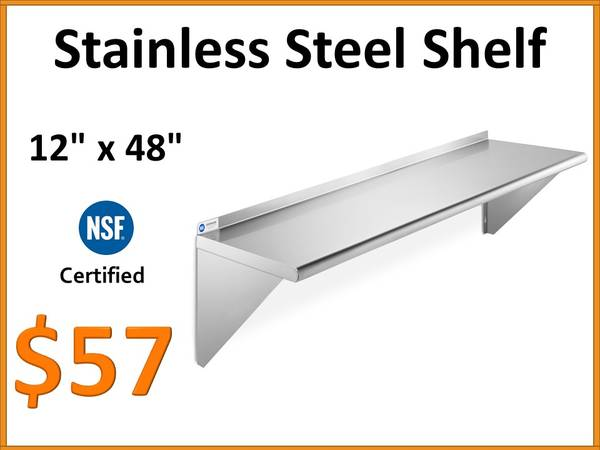 Photo NEW - 12quot x 48quot NSF Stainless Steel Commercial Wall Shelf - $57 (Tamarac)
