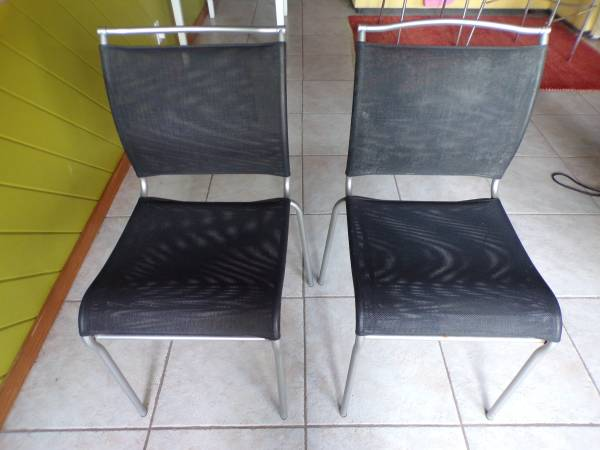Photo REDUCED  2 BLACK WOVEN PVC FABRIC WITH METAL FRAME OFFICE CHAIRS - $20 (UPPER SUGARLOAF KEY)